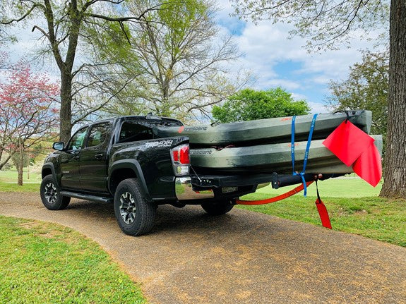 Truck loaded with kayaks