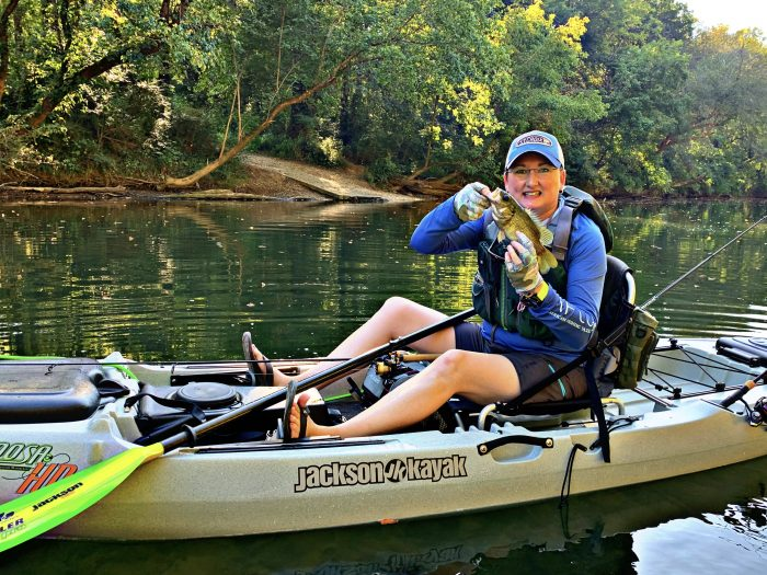 Kayak Angler using a Bending Branches Angler Pro Paddle