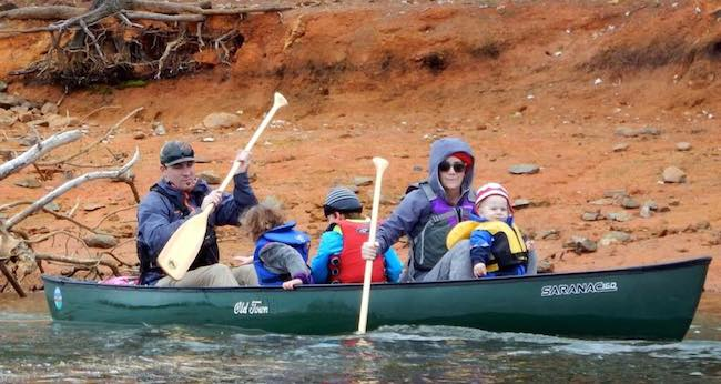 dan arbuckle and family canoeing