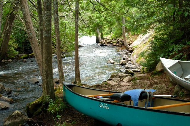 Boundary Waters canoes and portage