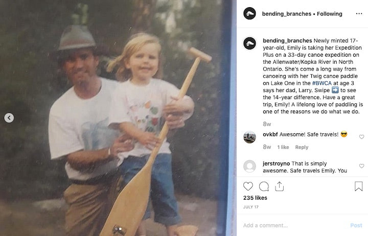 dad and daughter with bending branches paddle