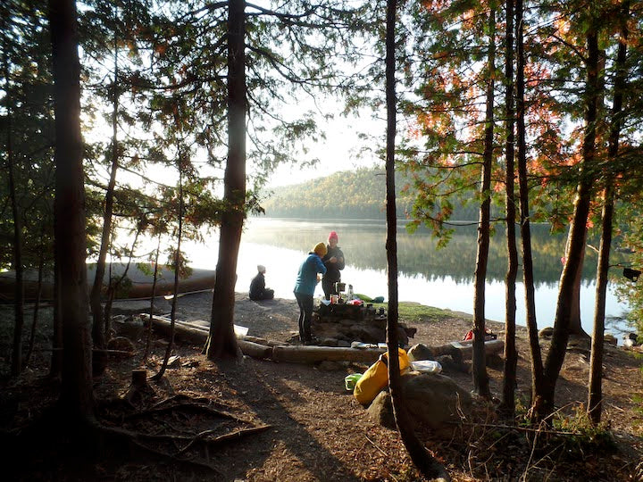 fall morning at the canoe campsite