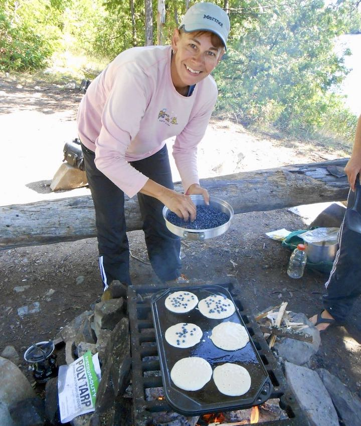 blueberry pancakes over a campfire