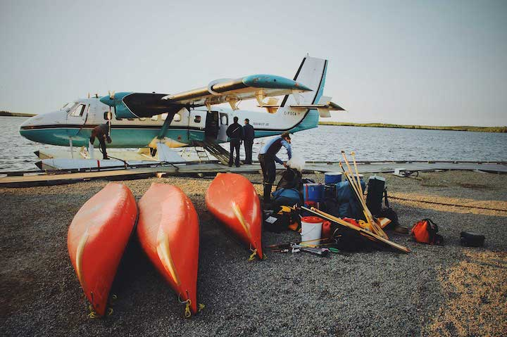 preparing to fly canoes into Canada