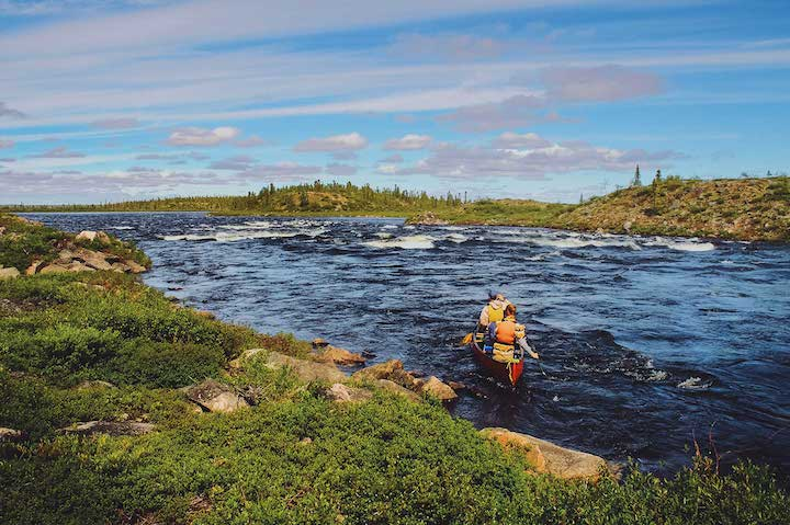 canoeing a northern river