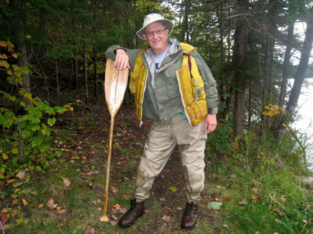 roy erickson with branches canoe paddle