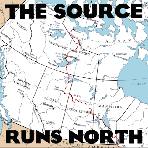 source runs north map