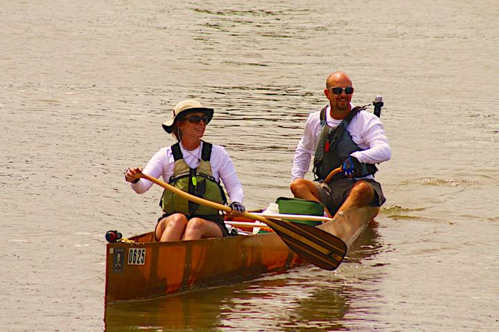 jody & bill miles competing in the MR340 canoe race