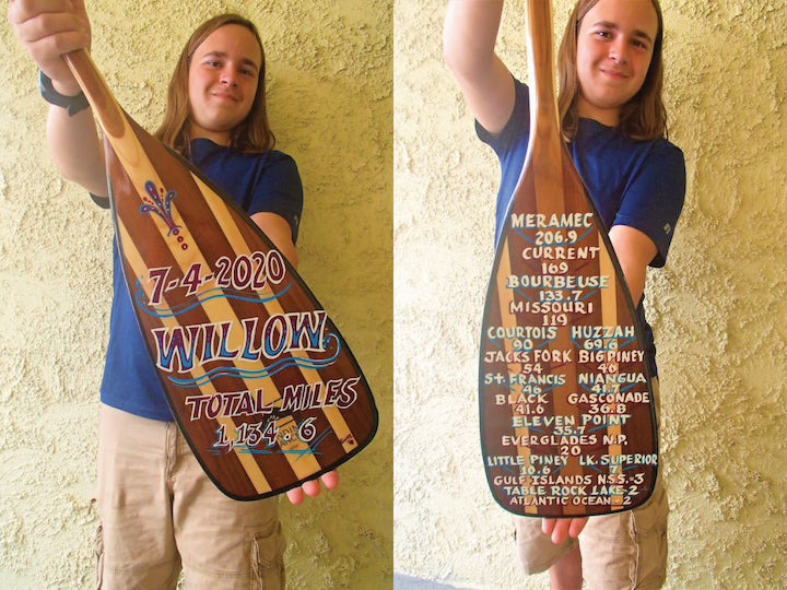 willow miles and his custom viper canoe paddle