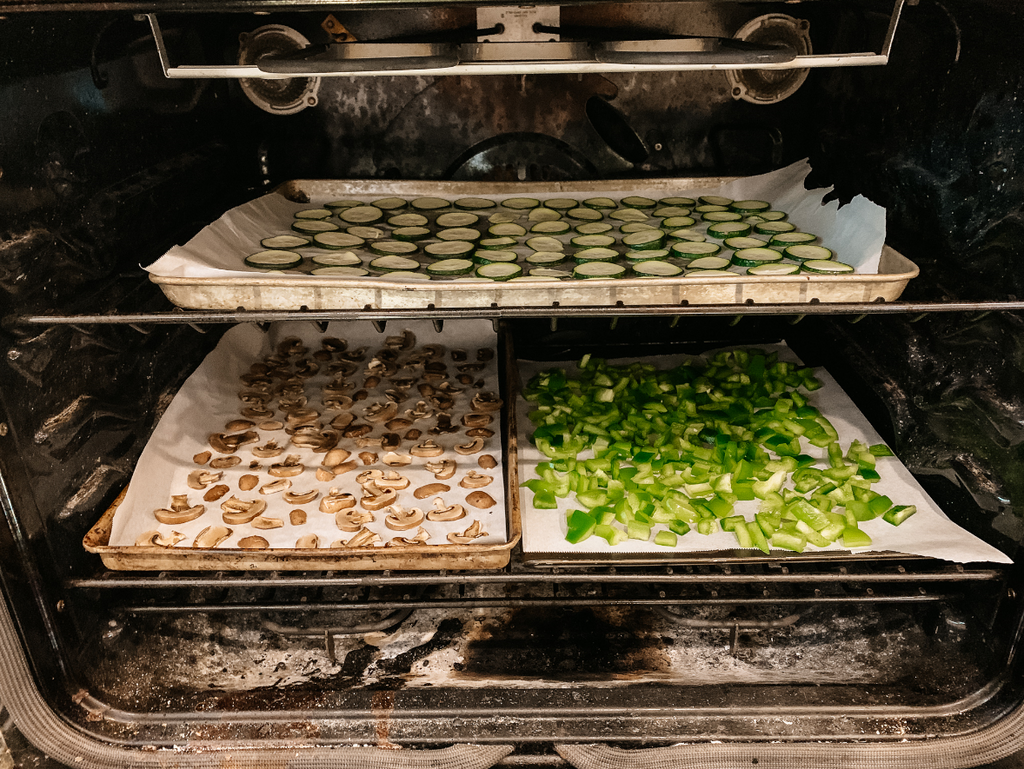 Dehydrating vegetables in oven