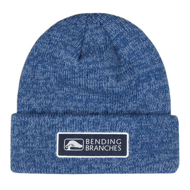 Blue Knit Beanie with Bending Branches Logo patch