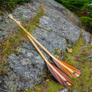 Java canoe paddles leaning against rock