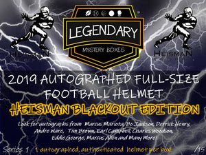 2019 Autographed Football Helmet Blackout Edition - HEISMAN SERIES