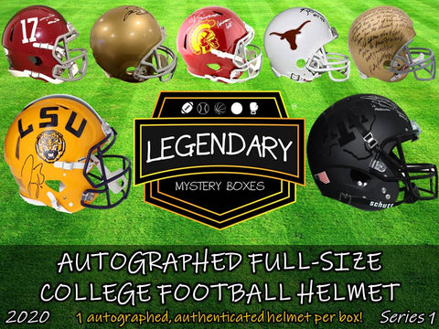 Autographed Full-Size College Football Helmet - Standard Edition 2020 Series 1 - ONLY 50 BOXES!