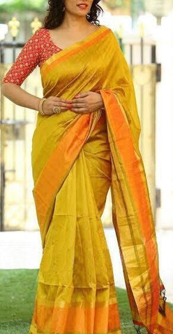 6706483f7ea183 Elegant Golden Silk Saree With Sequence Work Blouse - GlitterGleam