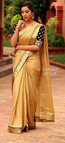 9343742abd3f84 Designer Gold Color Cotton Silk Saree with Heavy Black Blouse - GlitterGleam