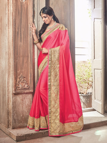 4470df014793f8 Designer Pink Glossy Chiffon Saree with Heavy Border   Shoulder Design -  GlitterGleam