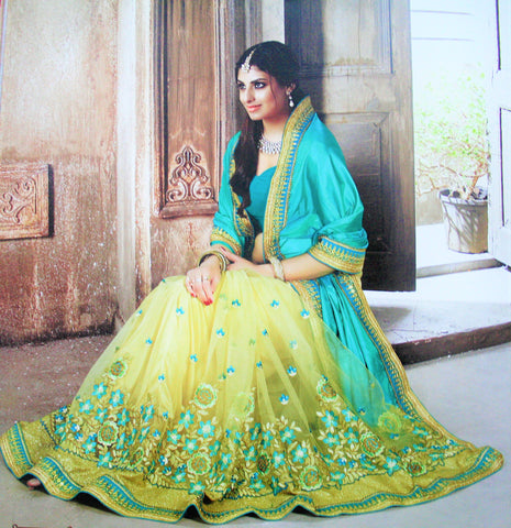 4ece59fd0ff1cd Green Yellow Dual Shade Silk and Net Half Half Designer Saree - GlitterGleam