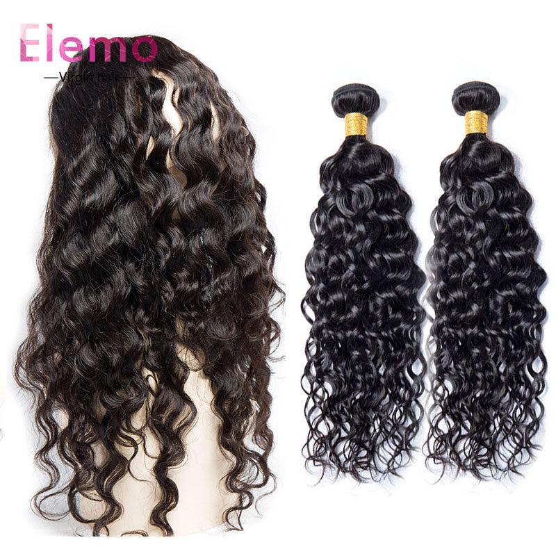 Water wave 360 Lace Frontal with 2 Bundles