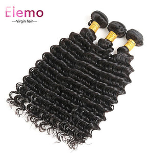 Indian Deep Wave Human Hair 3 Bundles/Lot