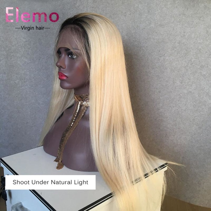 1B / 613 Blonde Straight Hair Full Lace Wig Wigs
