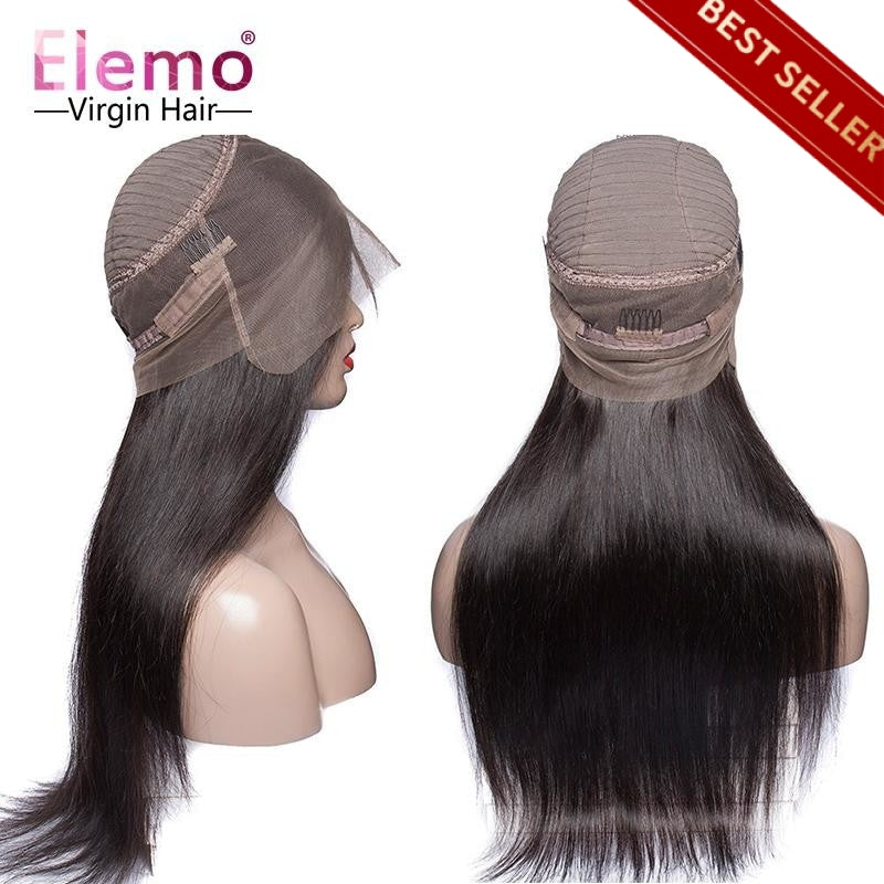 250% Density Straight 360 Lace Frontal Wigs Pre Plucked Virgin Hair