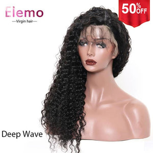 250% Density Virgin Hair 360 Lace Frontal Wig Deep Wave / 10 Inch