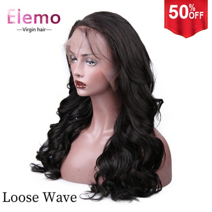 250% Density Virgin Hair 360 Lace Frontal Wig Loose Wave / 10 Inch