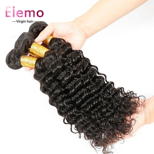 Indian Deep Wave Human Hair 4 Bundles/Lot