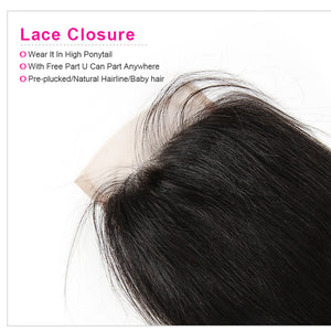 Free Part 5×5 Lace Closure Straight Human Hair Closure With Baby Hair