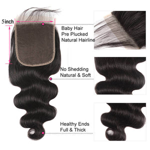 Body Wave 5×5 Lace Closure Free Part Human Hair Closure With Baby Hair
