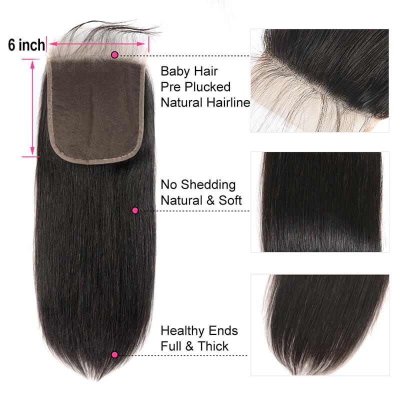 Straight 6×6 Lace Closure Free Part Human Hair Closure With Baby Hair