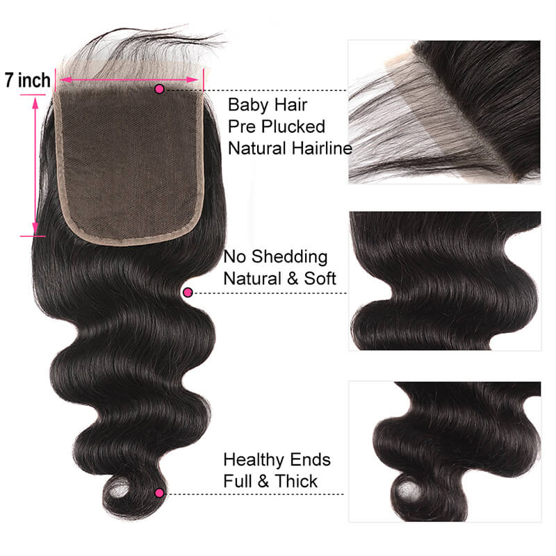 Body Wave 7x7 Closure Free Part Human Hair Lace Closure With Baby Hair