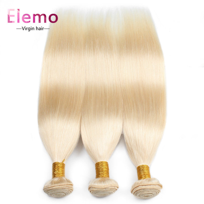 Elemo 3Bundles/lot 613 Blonde Straight Human Hair