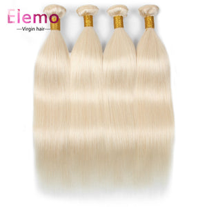 Elemo 4pcs/lot 613 Blonde Human Virgin Straight Hair