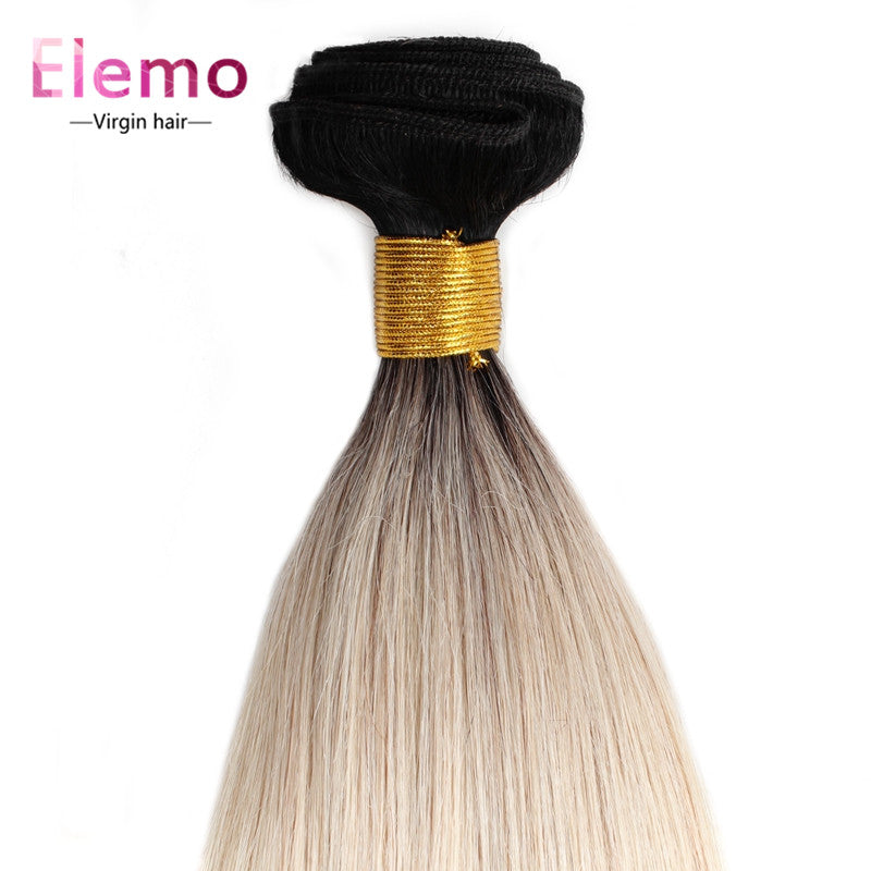 Elemo Human Hair T1B/613# Blonde Straight Bundles