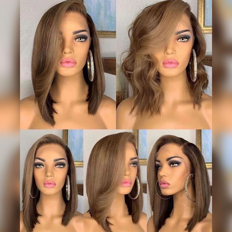 Ombré Highlight Side Part Glueless Lace Frontal Bob Wig