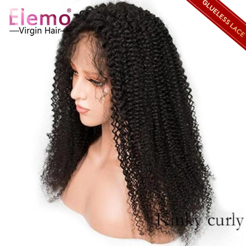 kinky curly lace closure wigs human hair wig