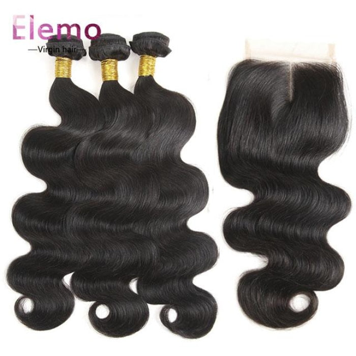 All Textures Brazilian Hair 3 Bundles+Closure Virgin