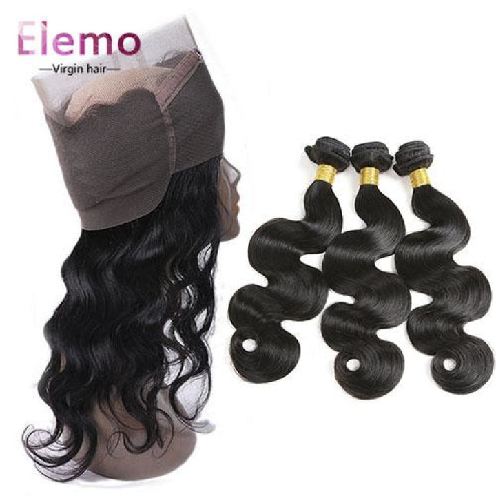 Body Wave 360 Lace Frontal+3 Bundles Brazilian Virgin Hair