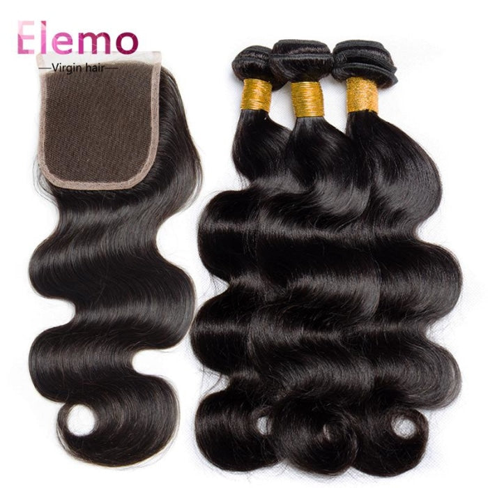 Brazilian Body Wave 3 Bundles With Lace Closure Virgin Hair
