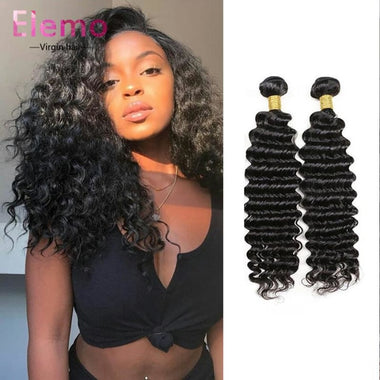 Brazilian Deep Wave 3 Bundles + 13*4 Lace Frontal Virgin Hair