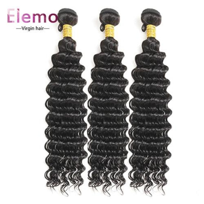 Brazilian Deep Wave 3 Bundles With Lace Closure Virgin Hair