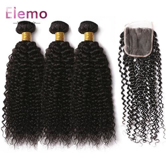 Brazilian Jerry Curl 3 Bundles+Closure Virgin Hair