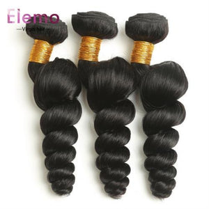 Brazilian Loose Wave 3 Bundles + Lace Closure Virgin Hair