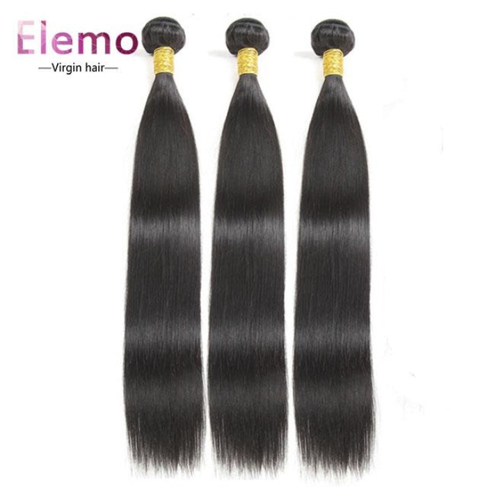 Brazilian Straight Hair 3 Bundles+Closure Virgin