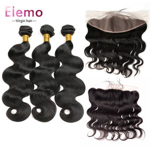 Brazilian Virgin Hair 3 Bundles With Pre Plucked Frontal Body Wave / 10+10+10+Frontal 10