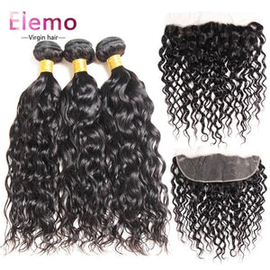 Brazilian Virgin Hair 3 Bundles With Pre Plucked Frontal Water Wave / 10+10+10+Frontal 10