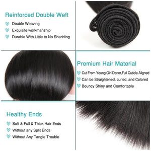 Brazilian Virgin Hair 3 Bundles With Pre Plucked Frontal