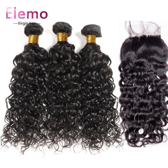 Brazilian Water Wave 3 Bundles + Lace Closure Virgin Hair